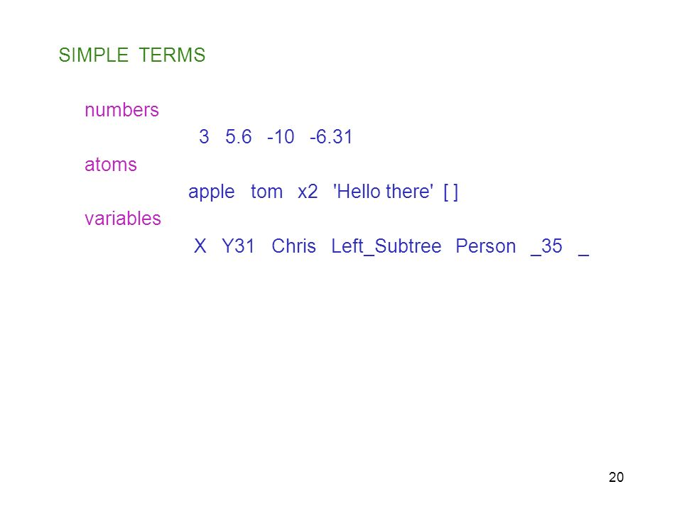 SIMPLE TERMSnumbers. 3 5.6 -10 -6.31. atoms. apple tom x2 Hello there [ ] variables.